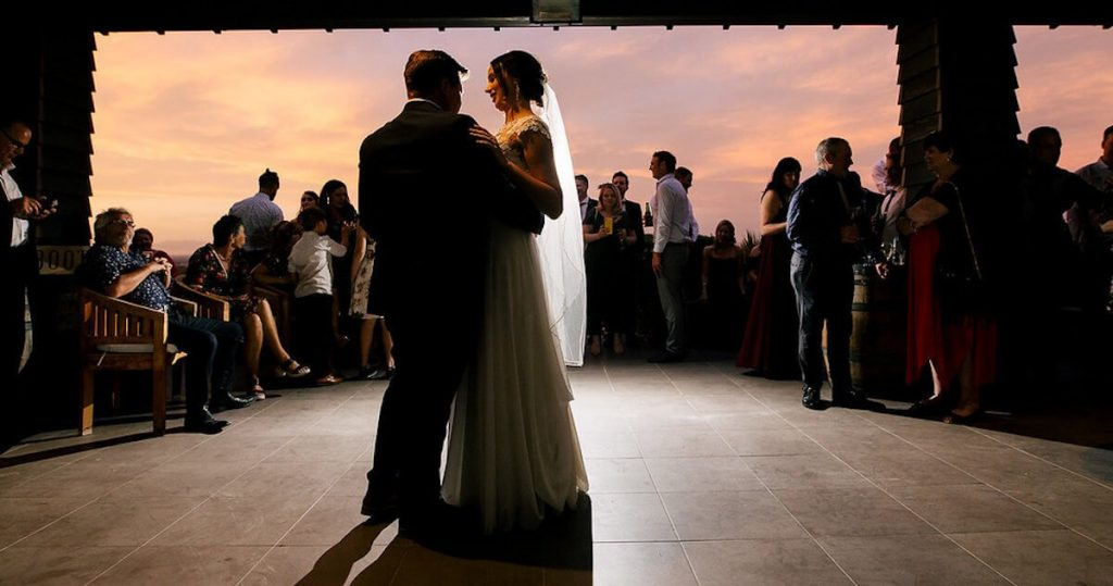 First dance at wedding on the terrace at Waipuna