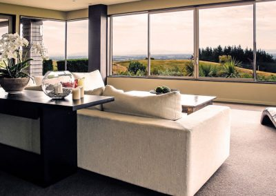 A living room with a spectacular view