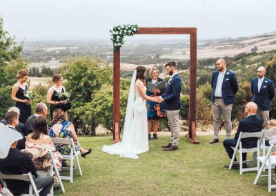 Wedding ceremony with epic view of Canterbury Plain