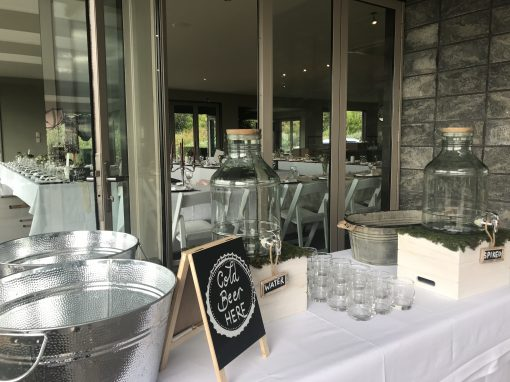 Bar set up at wedding