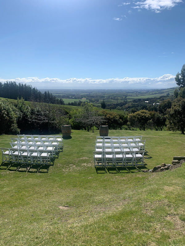 wedding ceremony seating with spectacular view of the Canterbury Plains