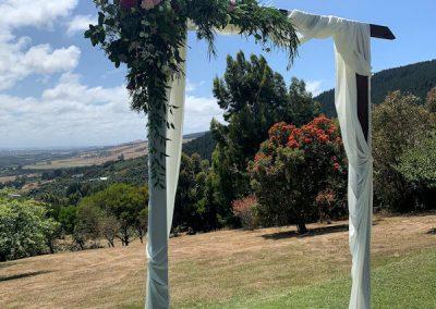 Beautiful wedding archway at Waipuna