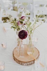 Floral centrepiece on wooden round