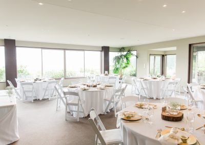 Round tables set up for wedding