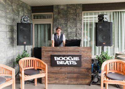 DJ set up on the terrace at Waipuna